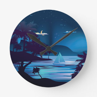 Tropical Island at Night2 Round Clock