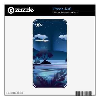 Tropical Island at Night Decals For The iPhone 4S
