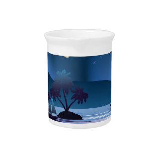 Tropical Island at Night Drink Pitcher
