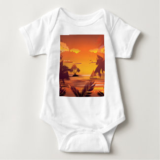 Tropical Island at Sunset2 Baby Bodysuit