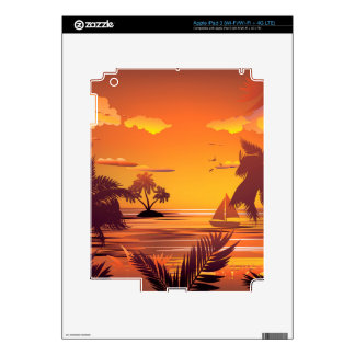 Tropical Island at Sunset2 Decal For iPad 3