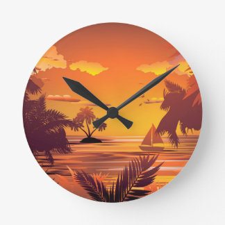Tropical Island at Sunset2 Round Clock