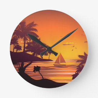 Tropical Island at Sunset 2 Round Clock
