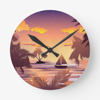 Tropical Island at Sunset Round Clock