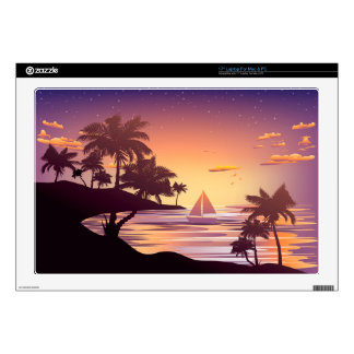 "Tropical Island at Sunset Skin For 17"" Laptop"