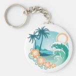 Tropical Island Basic Round Button Keychain