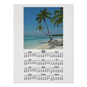Tropical Island Beach 2012 Calendar Poster Print print