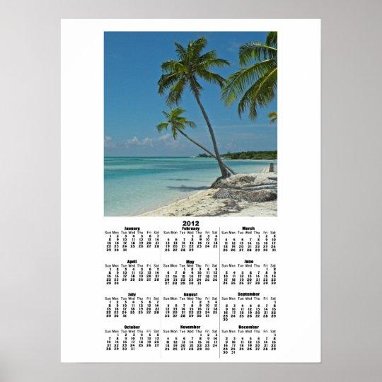 Tropical Island Beach 2012 Calendar Poster Print