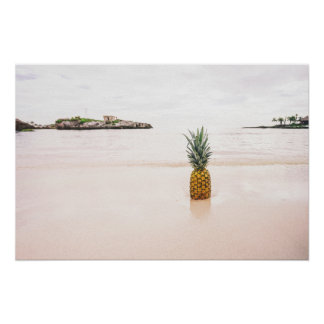 Tropical Island Beach Accent Pineapple Romantic Poster