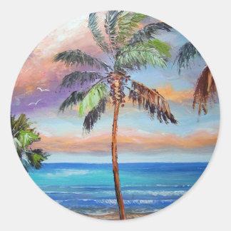 Tropical Island Beach Classic Round Sticker