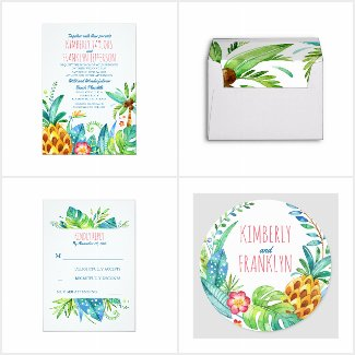 tropical island beach collection with pineapple