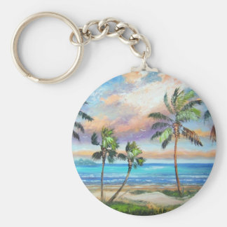 Tropical Island Beach Keychain