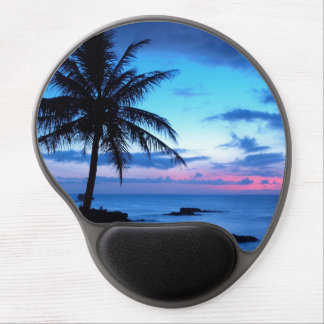 Tropical Island Beach Ocean Pink Blue Sunset Photo Gel Mouse Pad