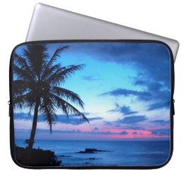 Tropical Island Beach Ocean Pink Blue Sunset Photo Laptop Sleeve