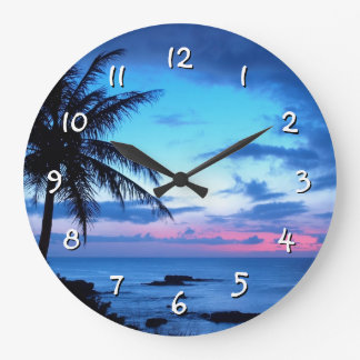 Tropical Island Beach Ocean Pink Blue Sunset Photo Large Clock