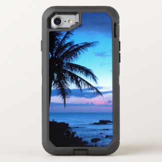 Tropical Island Beach Ocean Pink Blue Sunset Photo OtterBox Defender iPhone 7 Case