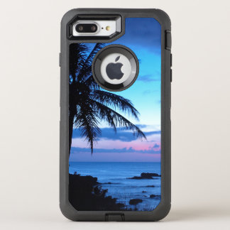 Tropical Island Beach Ocean Pink Blue Sunset Photo OtterBox Defender iPhone 7 Plus Case