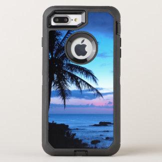 Tropical Island Beach Ocean Pink Blue Sunset Photo OtterBox Defender iPhone 8 Plus/7 Plus Case