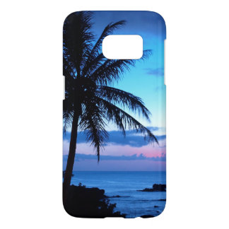 Tropical Island Beach Ocean Pink Blue Sunset Photo Samsung Galaxy S7 Case