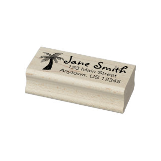 Tropical Island Beach Palm Tree Personalized Rubber Stamp