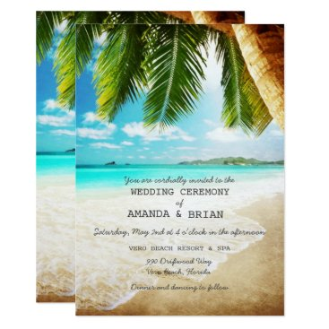 TropicalPapers Tropical Island Beach Wedding Invitation