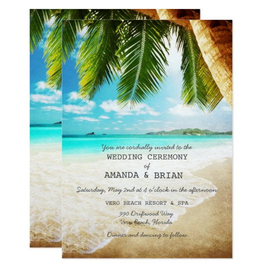 Party Island Beach: Tropical Island Beach Wedding Invitation