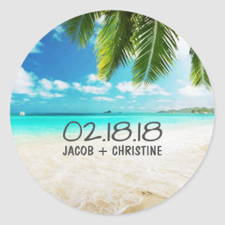 Tropical Island Beach Wedding Stickers