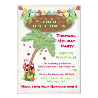 Tropical Island Christmas Holiday Party Invitation