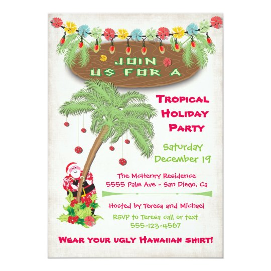 Party Island Beach: Tropical Island Christmas Holiday Party Invitation