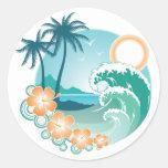Tropical Island Classic Round Sticker