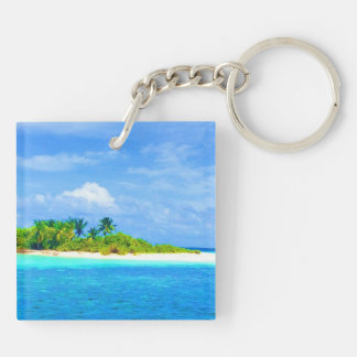 Tropical Island Double-Sided Square Acrylic Keychain