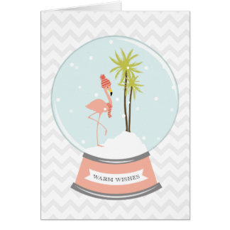 Tropical Island Flamingo Christmas - Pink Card