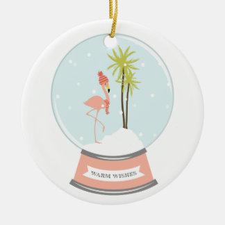 Tropical Island Flamingo Christmas - Pink Ceramic Ornament