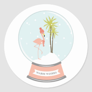 Tropical Island Flamingo Christmas - Pink Classic Round Sticker