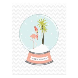 Tropical Island Flamingo Christmas - Pink Postcard