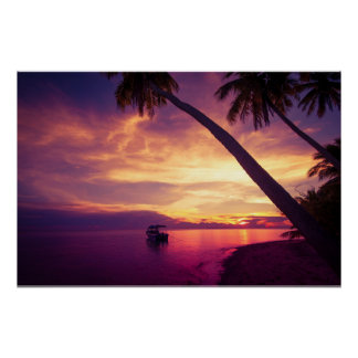 Tropical island in the sunset with a boat II Poster