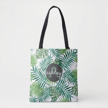 Beach Themed Tropical Island Leaf Pattern Monogram Tote Bag