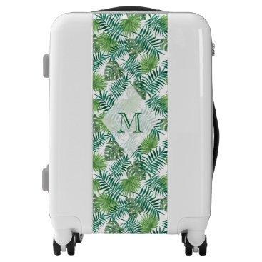 Beach Themed Tropical Island Leaves Monogram Luggage