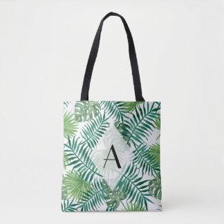 Tropical Island Leaves Monogram Tote Bag