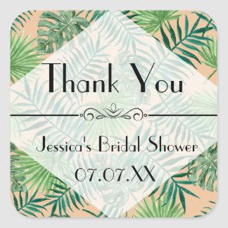 Tropical Island Leaves Thank You Favor Sticker