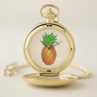 Tropical Island Luau Hawaiian Pineapple Fruit Pocket Watch