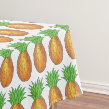 Beach Themed Tropical Island Luau Hawaiian Pineapple Fruit Tablecloth