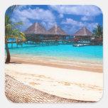 Tropical Island Of French Polynesia Square Sticker
