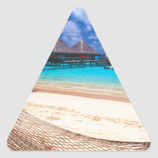 Tropical Island Of French Polynesia Triangle Sticker