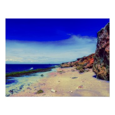 Tropical Island on Rocky Beach Poster
