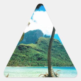 Tropical Island Otemanu Peak French Polynesia Triangle Sticker