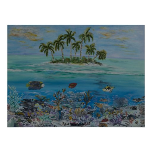 Tropical island painting on poster