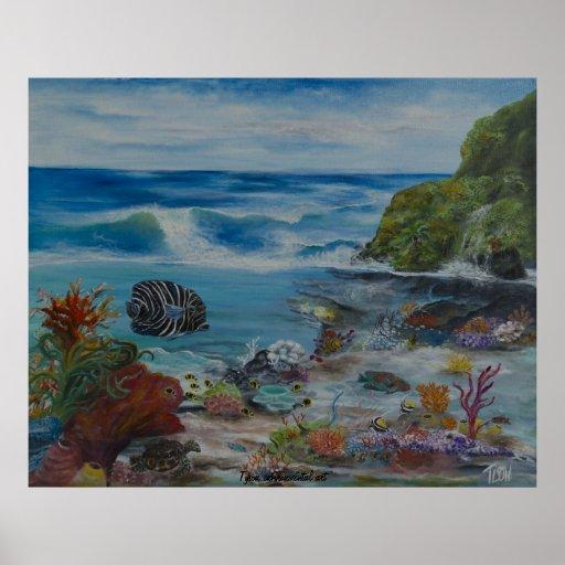 Tropical island painting on print