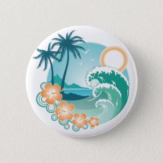 Tropical Island Pinback Button