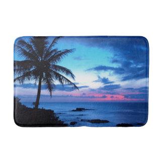Tropical Island Pretty Pink Blue Sunset Landscape Bath Mat